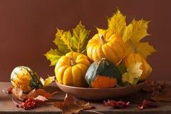 Abóboras e folhas de outono decorativas para o Dia das Bruxas Fotografia de Stock Royalty Free