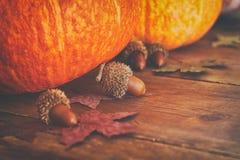 Abóboras e folhas de outono no fundo de madeira ação de graças e conceito do Dia das Bruxas Fotografia de Stock Royalty Free