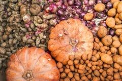 Abóboras, gengibre e batata orgânicos no mercado Imagens de Stock Royalty Free