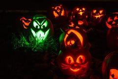 Abóboras iluminadas de Dia das Bruxas Fotografia de Stock Royalty Free