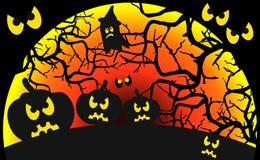 Abóboras no fundo a lua vermelho-sangue Fotografia de Stock Royalty Free