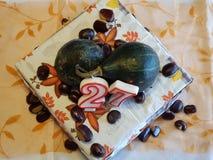 Abóboras que decoram o bolo Fotos de Stock