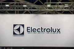 AB伊莱克斯在墙壁上的公司商标 伊莱克斯是瑞典多民族家电制造商 免版税图库摄影