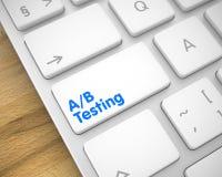 AB测试-在白色键盘键盘的文本 3d 库存照片