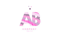 Ab a b alphabet letter logo pink purple line icon template vecto. Ab a b alphabet letter logo pink purple line font creative text dots company vector icon design Stock Image