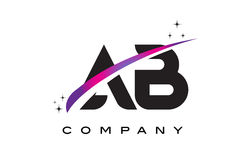 AB A B Black Letter Logo Design with Purple Magenta Swoosh. And Stars Stock Photo