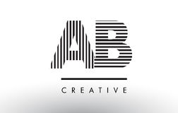 AB A B Black and White Lines Letter Logo Design. AB A B Black and White Letter Logo Design with Vertical and Horizontal Lines Royalty Free Illustration