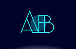 Ab a b blue line circle alphabet letter logo icon template vecto. Ab a b blue line circle letter logo alphabet creative company vector icon design template Royalty Free Illustration
