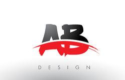 AB A B Brush Logo Letters with Red and Black Swoosh Brush Front. AB A B Brush Logo Letters Design with Red and Black Colors and Brush Letter Concept Stock Images