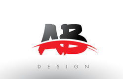 AB A B Brush Logo Letters with Red and Black Swoosh Brush Front. AB A B Brush Logo Letters Design with Red and Black Colors and Brush Letter Concept Stock Image