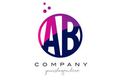 AB A B Circle Letter Logo Design with Purple Dots Bubbles Stock Image