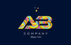 Ab a b colorful alphabet letter logo icon template vector. Ab a b alphabet letter logo colors colorful rainbow acrylic font creative text dots company vector Vector Illustration