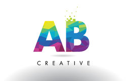 AB A B Colorful Letter Origami Triangles Design Vector. AB A B Colorful Letter Design with Creative Origami Triangles Rainbow Vector Stock Illustration