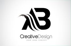 AB A B Creative Brush Black Letters Design With Swoosh. AB A B Creative Modern Black Letters Logo Design with Brush Swoosh stock illustration