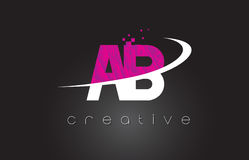 AB A B Creative Letters Design With White Pink Colors Royalty Free Stock Photography