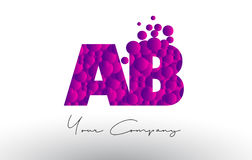 AB A B Dots Letter Logo with Purple Bubbles Texture. Stock Image