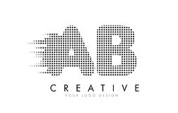 AB A B Letter Logo with Black Dots and Trails. Royalty Free Stock Image
