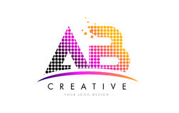 AB A B Letter Logo Design with Magenta Dots and Swoosh Royalty Free Stock Image