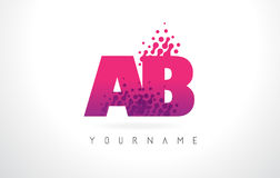 AB A B Letter Logo with Pink Purple Color and Particles Dots Des. AB A B Letter Logo with Pink Letters and Purple Color Particles Dots Design vector illustration