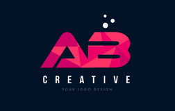 AB A B Letter Logo with Purple Low Poly Pink Triangles Concept. AB A B Purple Letter Logo Design with Low Poly Pink Triangles Concept Vector Illustration