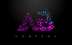 AB A B Letter Logo with Purple Particles and Bubble Dots. AB A B Letter Logo with Purple Blue Particles and Bubble Dots Design Vector Stock Illustration
