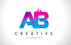 AB A B Letter Logo with Shattered Broken Blue Pink Texture Desig. AB A B Letter Logo with Broken Shattered Blue Pink Triangles Texture Design Vector Illustration Vector Illustration