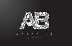 AB A B Letter Logo with Zebra Lines Texture Design Vector. AB A B Letter Logo with Zebra Lines Texture Design Vector Illustration Royalty Free Illustration