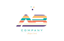 Ab a b line stripes pastel color alphabet letter logo icon templ Stock Images