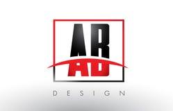 Ab B Logo Letters met Rode en Zwarte Kleuren en Swoosh Royalty-vrije Stock Afbeeldingen