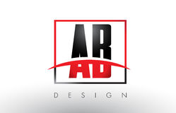 AB A B Logo Letters with Red and Black Colors and Swoosh. Creative Letter Design Vector Royalty Free Stock Images