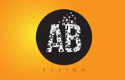 AB A B Logo Made of Small Letters with Black Circle and Yellow B. AB A B Logo Design Made of Small Letters with Black Circle and Yellow Background Royalty Free Stock Image