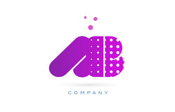 Ab a b pink dots letter logo alphabet icon. Ab a b pink dots dotted letter logo alphabet creative company vector icon design template Stock Photo