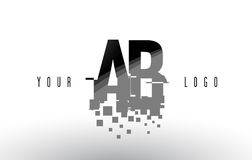 AB A B Pixel Letter Logo with Digital Shattered Black Squares Royalty Free Stock Photo