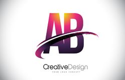 AB A B Purple Letter Logo with Swoosh Design. Creative Magenta M. Odern Letters Vector Logo Illustration Royalty Free Stock Photo