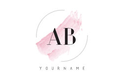AB A B Watercolor Letter Logo Design with Circular Brush Pattern. AB A B Watercolor Letter Logo Design with Circular Shape and Pastel Pink Brush stock illustration