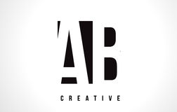 AB A B White Letter Logo Design with Black Square. AB A B White Letter Logo Design with Black Square Vector Illustration Template Stock Photography