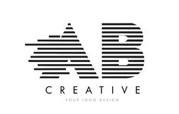 AB A B Zebra Letter Logo Design with Black and White Stripes. Vector Stock Image