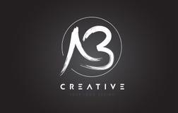 Ab-Borstelbrief Logo Design Artistiek Met de hand geschreven Brievenembleem C Stock Foto's