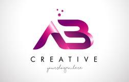 Ab-Brief Logo Design met Purpere Kleuren en Punten Stock Fotografie