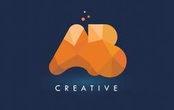Ab-Brief met het Embleem van Origamidriehoeken Creatieve Geeloranje of Royalty-vrije Stock Afbeelding