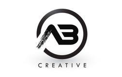 AB Brush Letter Logo Design. Creative Brushed Letters Icon Logo. AB Brush Letter Logo Design with Black Circle. Creative Brushed Letters Icon Logo Royalty Free Stock Photo
