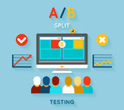 AB comparison test. Computer and feedback, research and planning, vector illustration Stock Image