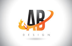 Ab een B-Brievenembleem met het Ontwerp van Brandvlammen en Oranje Swoosh Stock Fotografie