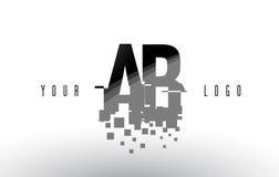 Ab een B-Embleem van de Pixelbrief met Digitale Verbrijzelde Zwarte Vierkanten Royalty-vrije Stock Foto