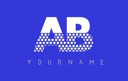 Ab een B Gestippelde Brief Logo Design met Blauwe Achtergrond Royalty-vrije Stock Foto's