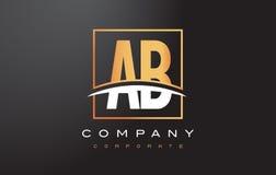 Ab een Gouden Brief Logo Design van B met Gouden Vierkant en Swoosh Stock Afbeelding