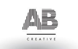 Ab een Zwart-witte de Lijnenbrief Logo Design van B Royalty-vrije Stock Afbeeldingen