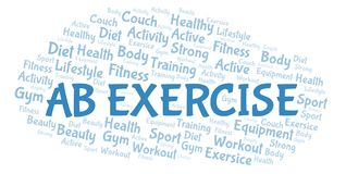 Ab Exercise word cloud. Wordcloud made with text only. Great graphic illustration for your needs, beautiful and colorful vector illustration