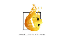 AB Gold Letter Logo Painted Brush Texture Strokes. AB Gold Letter Brush Logo. Golden Painted Watercolor Background with Square Frame Vector Illustration royalty free illustration