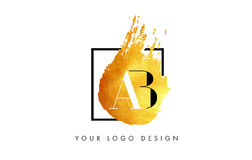 AB Gold Letter Logo Painted Brush Texture Strokes. AB Gold Letter Brush Logo. Golden Painted Watercolor Background with Square Frame Vector Illustration Royalty Free Stock Photography